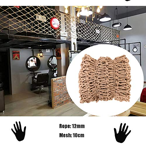 Hemp Rope Decoration Net Jute Netting Retro Industrial Style,Safety Net for Stair Railing,Natural Jute Material,for Stairs Railing Terrace,12mm/10cm,Multiple Sizes (Size : 1x8m)