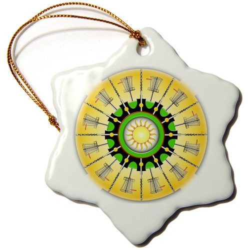 3dRose Sunny Baskets - frisbee disc golf baskets with putters and chains - Snowflake Ornament, 3-inch (orn_174247_1)