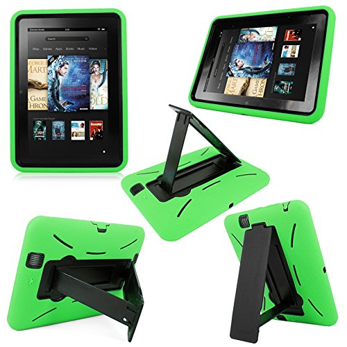 Cellularvilla Hybrid Hard Soft Dual Layer Kickstand Shockproof Protective Case Cover Compatible with Amazon Kindle Fire HD 8.9 Inch (2012) Edition (Green Black)