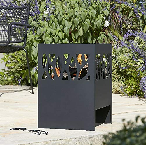 Large Fire Pit Set: Anabar, Includes Hand Tool & Grate Tray - NDD (Wood or Charcoal, Basket Log Burner Garden Heater, Chimenea Patio Wood Chiminea Tall)