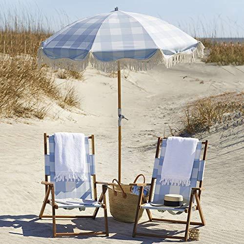 HH- Sombrillas Sombrilla de Playa con Flecos de Celosía Azul de 6.5 Pies, Sombrilla de Jardín Acampar, Piscina, Balcón Y Patio, Portátil Y Plegable.