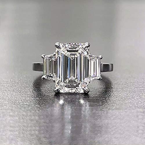 Amazon Com 2 60 Tcw Emerald Cut With Trapezoid Side 3 Stone Diamond Engagement Ring I Vs1 Gia Handmade
