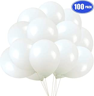 White Balloons 100 pack, 12 Inches Latex Party Balloons for Wedding Birthday Baby Shower Party Supplies Decorations