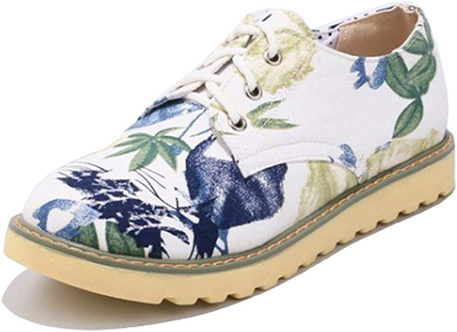 Unm Women's Comfort Floral Print Round Toe Driving Cars Lace Up Flats shoes