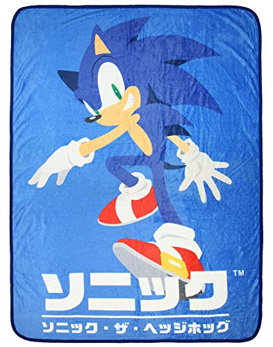 Seven Times Six Sonic The Hedgehog Japanese Script Video Game Super Soft Plush Fleece Throw Blanket