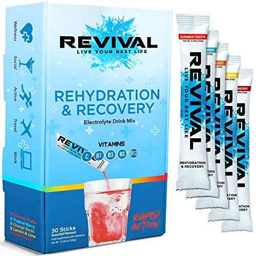 Revival Rapid Rehydration Electrolytes Powder - High Strength Vitamin C, B1, B3, B5, B12 Supplement Sachet Drink, Effervescent Electrolyte Hydration Tablets - 30 Pack Multi