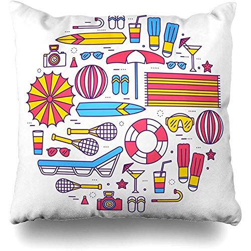 Throw Pillow Cover Cushion Case Happy Blue Badminton Summer Vacation Circle Thin Lines Slipper Aloha Ball Best Creative Design Home Decor Square 18x18 Inches