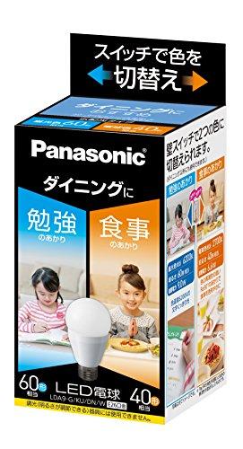 パナソニック LED電球 口金直径26mm 電球60W形相当 昼光色相当(9.0W)/電球色相当(6.6W) 一般電球・光色切替えタイプ ダイニング向け 密閉形器具対応 LDA9GKUDNW