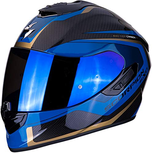 Scorpion Motorradhelm EXO-1400 AIR CARBON ESPRIT Black-Blue, Schwarz/Blau, S
