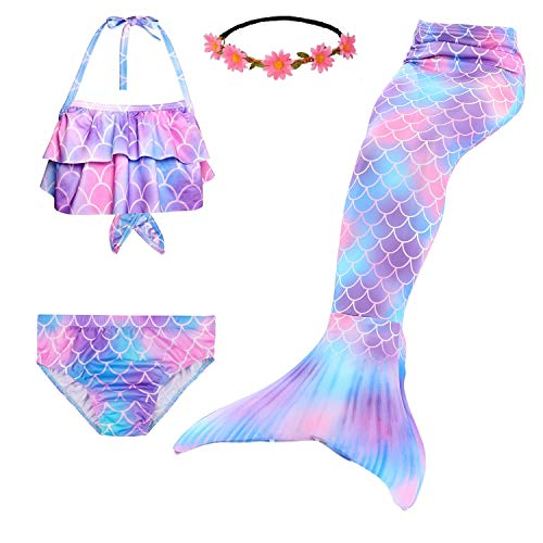 Fishkidtail Meerjungfrau Schwänze für Mädchen für Schwimmen 4Pcs Bikini Badeanzug Kostüm Kinder(Height 45-47in(Gr.120,Multicoloured 1)