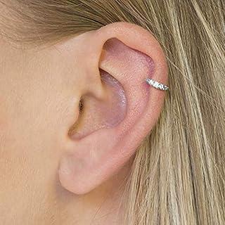 Diversa Piercing - Orecchino Donna Cartilagine ⌀ 8 mm, Anello Orecchio Helix in Oro 18 Carati Bianco con Zirconi