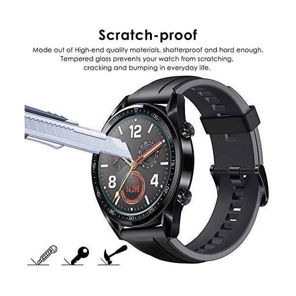 CAVN Compatible con Huawei Watch GT Protector de Pantalla, [4 Packs] Impermeable Vidrio Templado Protector de Pantalla… 4