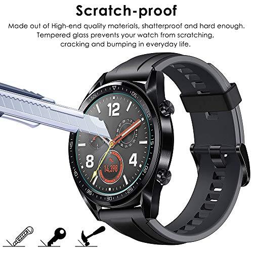 CAVN Panzerglas Kompatibel mit Huawei Watch GT Sport /Classic /Active Schutzfolie [4-Stück], (Nicht für GT 2) Wasserdichtes gehärtetes Glas Anti-Scratch Anti-Bubble Displayschutzfolie Schutz für GT - 5