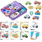 Japace Guess Who I Am Lernkarten Spielzeug, Kinder Kognitive Passende Holzpuzzle Puzzle Spielzeug, Frühes Lernen Vorschule Lernspielzeug & Interaktives Geschenke für Babys und Kleinkind (Verkehr)