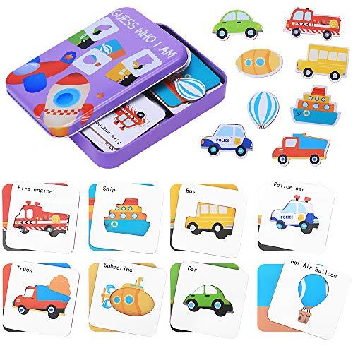 Puzzles de Madera para Niños, Guess Who I Am Juguetes Montessori Educativos, Juguetes de Aprendizaje Temprano Set Regalo con Caja de Almacenamiento (tráfico)