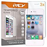 REY 3X Protector de Pantalla para iPhone 4 / 4S / 4C, Cristal Vidrio Templado Premium