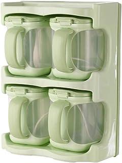 Boîte d'assaisonnement à 4 tiroirs pour la Cuisine, Pots à Condiments pour épices, Support de Bol avec Couvercle, cuillèr...