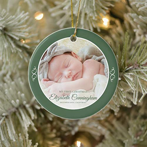 McC538arthy Personalized Christmas Memorial Ornament, My First Christmas Simple Baby Girl Photo Keepsake Holiday Ceramic Keepsake Memorial Gifts Sympathy Gift Xmas Hanging Decor 3''