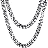 PROSTEEL Stainless Steel Cuban Link Miami Chain Chunky Necklaces 10mm Men Women Men's Chains Jewelry for Him