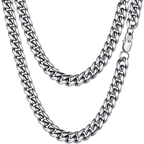 PROSTEEL Stainless Steel Cuban Link Chain Chunky Necklaces 10mm Men Women Men's Chains Jewelry for Him