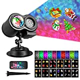 Samyoung LED Projector, Water Wave Landscape lamp Remote Control Colorful Waterproof Night Lights Perfect for Christmas Halloween Parties Bedroom Lawn Patio Yard, Black