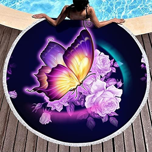 Toalla de playa redonda personalizada, diseño de mariposas, toalla de playa para hombre, color blanco, 150 cm
