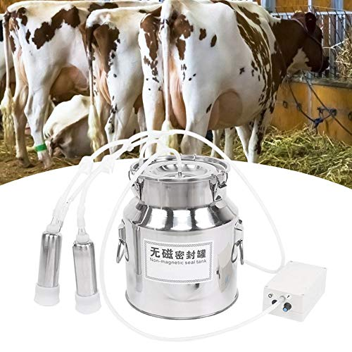 Kit de Máquina de Ordeño, Ordeñadora Eléctrica Portátil para Vacas / Ovejas con Velocidad Ajustable de 14L, Máquina de Ordeño por Pulsación Eléctrica con 2 Copas de Pezón para Ganado Bovino(Vaca UE)