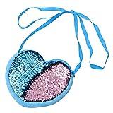 FENICAL bolso bandolera con lentejuelas monedero mini bolso mensajero con forma de corazón para niñas - azul claro