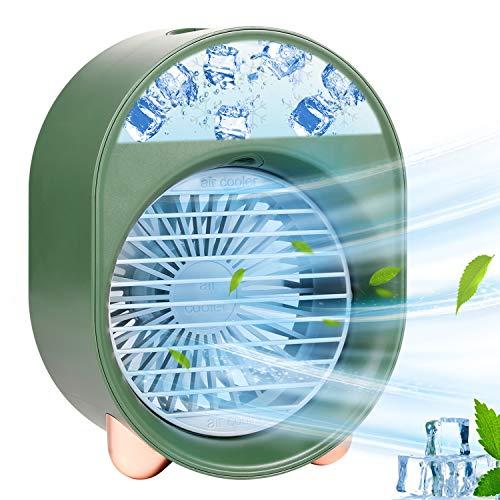 Climatiseur Portable, Refroidisseur D'air Personnel, Mini Refroidisseur D'air Portable Ventilateur de Climatisation Personnel Portable Refroidisseur Mobile 3 Vitesses (Green)