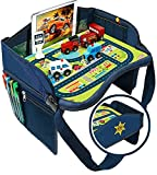 Coolmum Kids Travel Tray, Toddler Car Seat Tray, Activity Organizer, Snack Lap Tray, Baby Stroller Tray, Airplane Play Table, Waterproof and Foldable (Premium Blue)