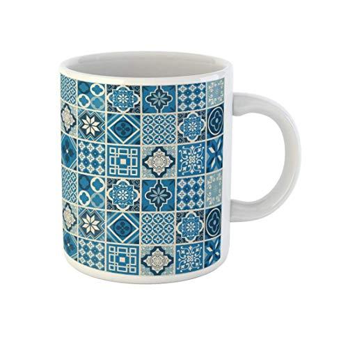 N\A Taza de café Azul Mediterráneo Patrón Azul Marino Forma marroquí Español Arabesco Abstracto Taza de té de cerámica de 11 onzas Recuerdo para Familiares, Amigos, compañeros de Trabajo