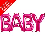 Northstar BABY - Magenta 16 inch Foil Letter Balloon Pack for Baby Showers and Christenings by Signature Balloons