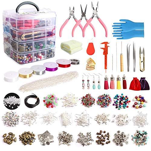 VGY 1960 unids/Set Kit de fabricación de Joyas con Perlas alicates de joyería para Collar Pendientes de Pulsera Haciendo y reparación (Color : Multi)