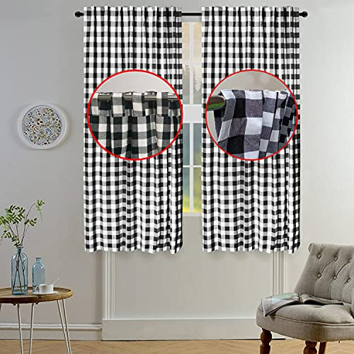 Gingham Check Curtain, Window Treatment Panels, Décor Panel, Nursery Curtain, Farmhouse Curtain, Kitchen Curtain, Bathroom Curtain, Living Room Curtain - 50x72 Inch - Black White - Set of 2 Panels
