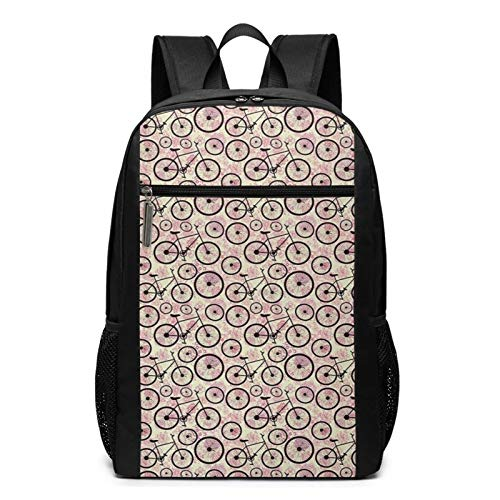 School Backpack Doodle Pink Blossoms Fun Activity, College Book Bag Business Travel Daypack Casual Rucksack for Men Women Teenagers Girl Boy