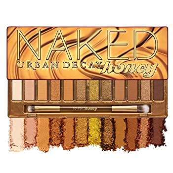 Urban Decay Naked Honey Eyeshadow Palette 12 Golden Neutral Shades - Ultra-Blendable Rich Colors with Velvety Texture - Set Includes Mirror & Double-Ended Makeup Brush