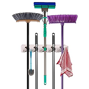 Utopia Home Mop and Broom Holder - Garden Tool Organizer - Wall Mounted Organizer - 5 Slots and 6 Hooks - Easy to Install
