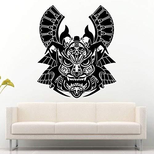 guijiumai Alte Samurai Entfernbare Wandaufkleber für Wohnzimmer Kreative Krieger Maske Helm Vinyl Aufkleber Hintergrund Home Wandbild Kunst 56X68 cm