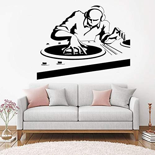 Música DJ Pegatinas de pared Club nocturno Estilo de música pop Calcomanías de pared Decoración de discoteca Música extraíble DJ Mural de pared A3 53x42cm