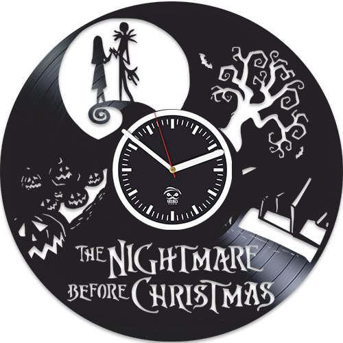 Kovides Vinyl Wall Clock, Nightmare Before Christmas, Jack Song, Best Gift for Kids, Vinyl Record Clock, Silent, Wall Sticker, Wall Clock Modern, Nightmare Before Christmas Clock