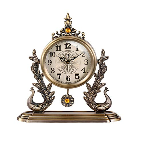 Tingting1992 Alarm Clock Light Luxury Peacock Clock Wall Clock Living Room Home Creative Fashion Mute Modern Decoration Personality Clock Desk Clock