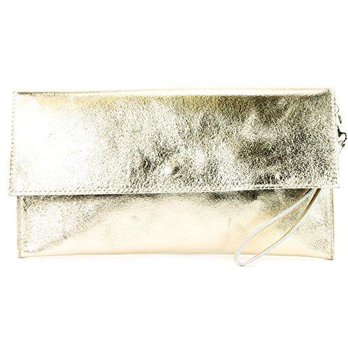 modamoda de - M106-151 - ital. Clutch Handgelenktasche Leder Metallic, Farbe:M151 Lightgold Metallic