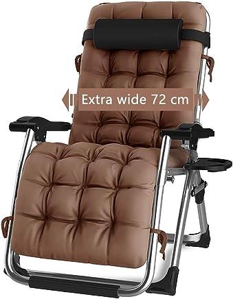 ラウンジチェア カップホルダー、重い人のための無重力の長椅子、ガーデン、パティオ、ベランダに最適 (色 : シルバー しるば゜)