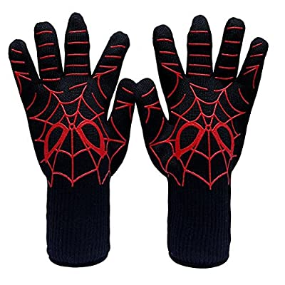TOPPERSKY BBQ Grillhandschuhe Extrem Hitzebeständige Ofen Handschuhe Handschutz Handschuhe 1 Paar (Spiderman)