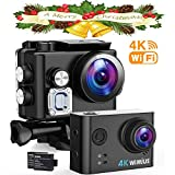 WiMiUS Action Cam 4K, 2.45'' LCD Touch Screen WiFi Actioncam 16MP HD 30M Unterwasserkamera...