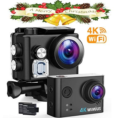 WiMiUS 4K Action Cam Wi-Fi 16MP Ultra FHD Impermeabile 40M Immersione Sott\'Acqua Camera con Schermo 2 Pollici 170 Gradi Ampia Vista Grandangolare/Due 1000mAh Batterie/20 Accessori all\'Interno
