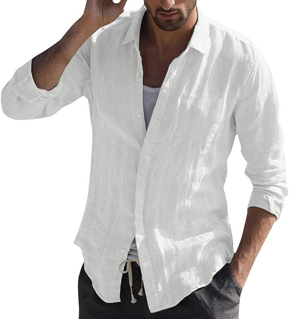 Aayomet Men's Cotton Linen Shirts Solid Long Sleeve Button Down T-Shirt Yoga Loose Sport Beach Tee Shirts Tops for Men