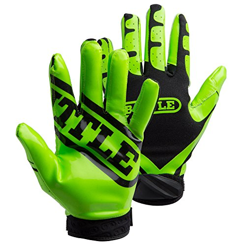 Battle Ultra-Stick Receiver Gloves, Youth Large - Neon Green/Black