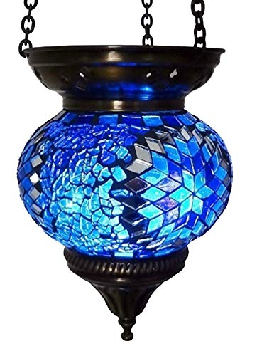 Moroccan Turkish Mosaic Hanging Lamp Hanging Candle Holder Hanging Candle Holder Lamp Table Or Desk Lamp Lamps Bronze Effect Handmade Unique Crushed Glass Tiffany Style Turkish Moroccan Lamp Blue