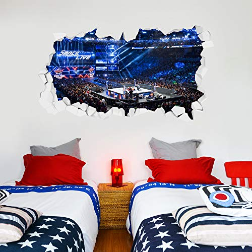 WWE Wall Sticker Smackdown Arena Smashed Wall Decal Vinyl Kids Mural Art Wrestling (120cm Width x 60cm Height)